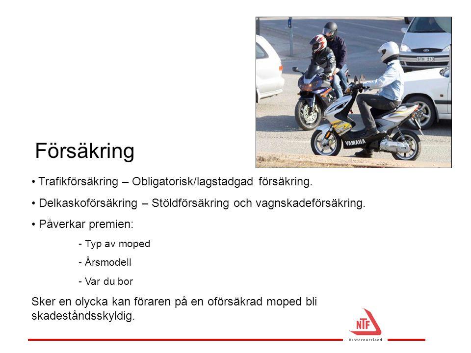 Försäkring Trafikförsäkring – Obligatorisk/lagstadgad försäkring.