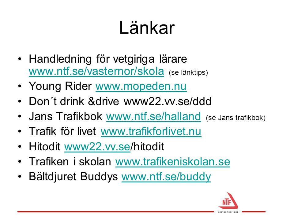Länkar Handledning för vetgiriga lärare www.ntf.se/vasternor/skola (se länktips) Young Rider www.mopeden.nu.