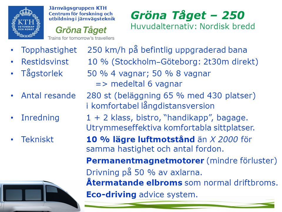 Gröna Tåget – 250 Huvudalternativ: Nordisk bredd
