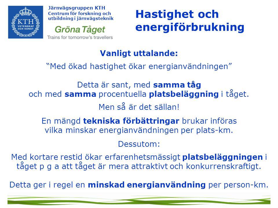 Hastighet och energiförbrukning