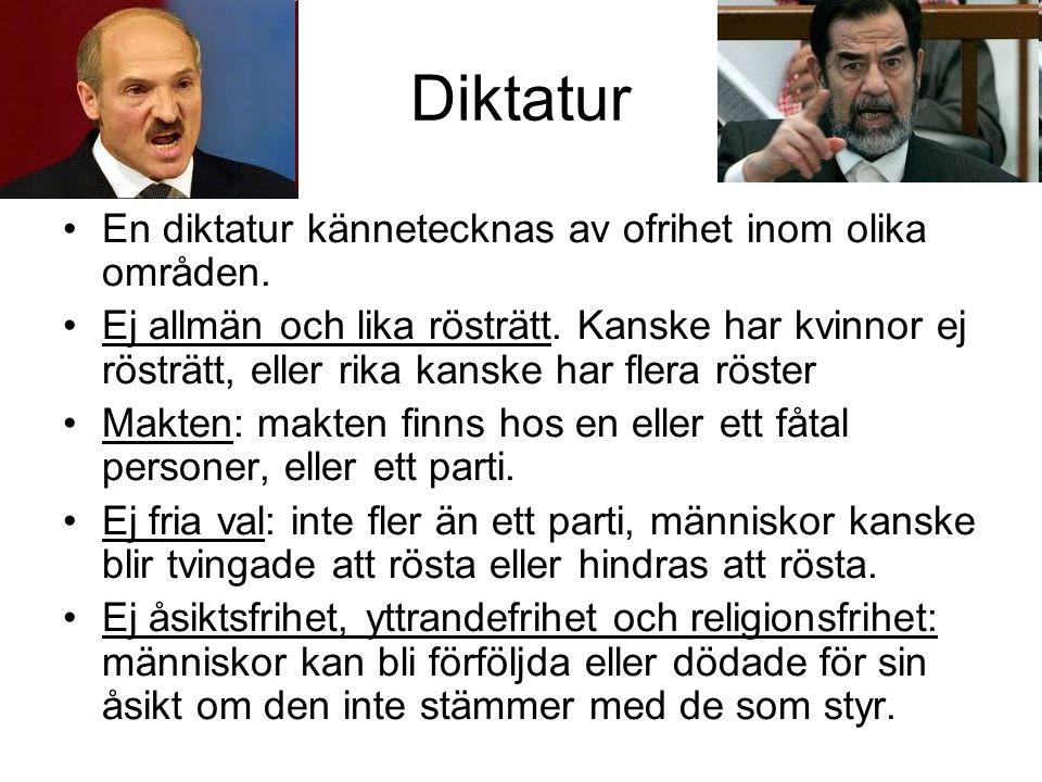 Diktatur En diktatur kännetecknas av ofrihet inom olika områden.