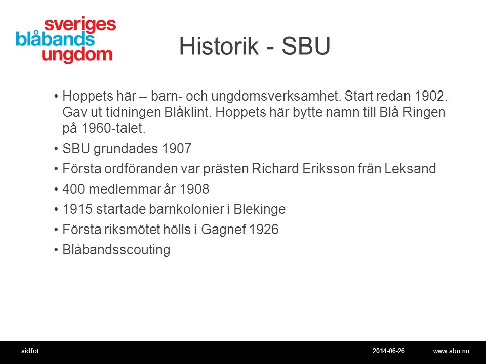 Historik - SBU