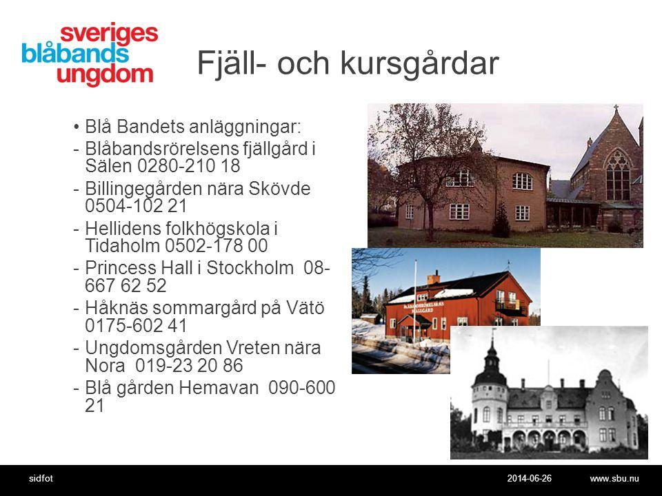 Fjäll- och kursgårdar Blå Bandets anläggningar:
