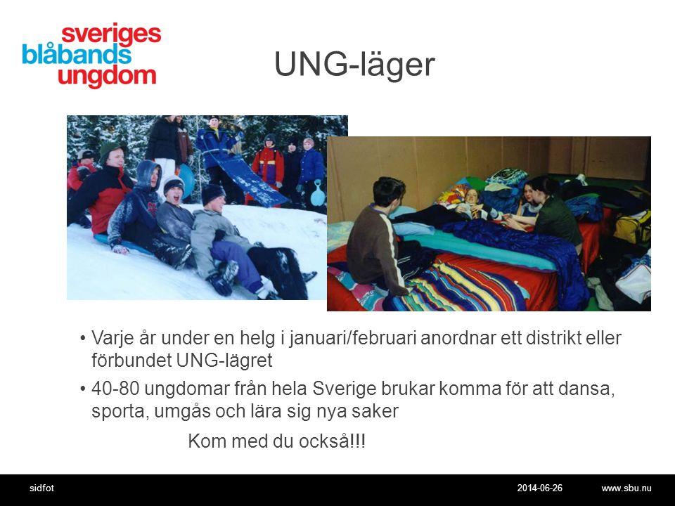 UNG-läger Varje år under en helg i januari/februari anordnar ett distrikt eller förbundet UNG-lägret.