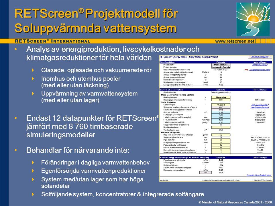 RETScreen® Projektmodell för Soluppvärmnda vattensystem