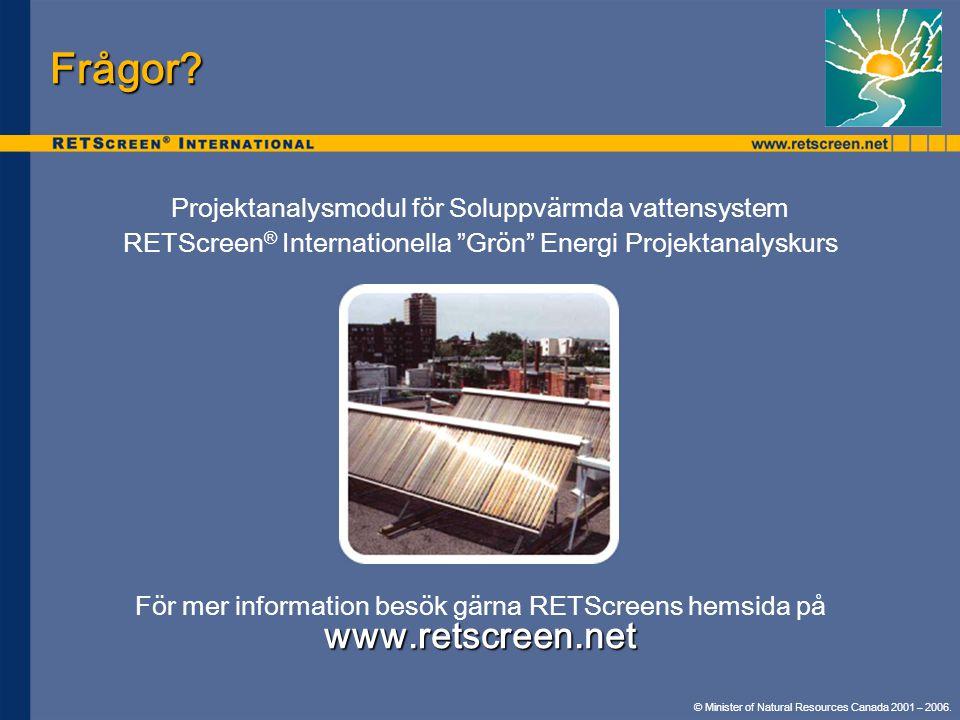 Frågor www.retscreen.net