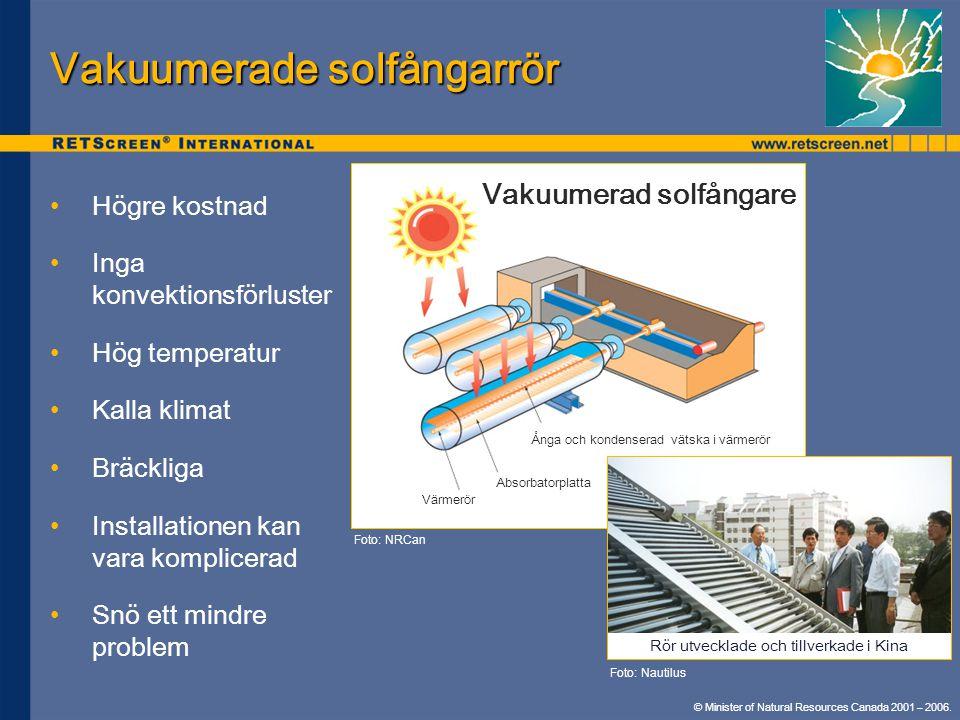 Vakuumerade solfångarrör