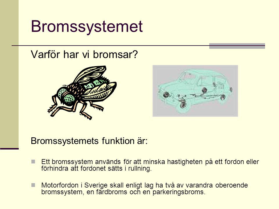 Bromssystemet Varför har vi bromsar Bromssystemets funktion är: