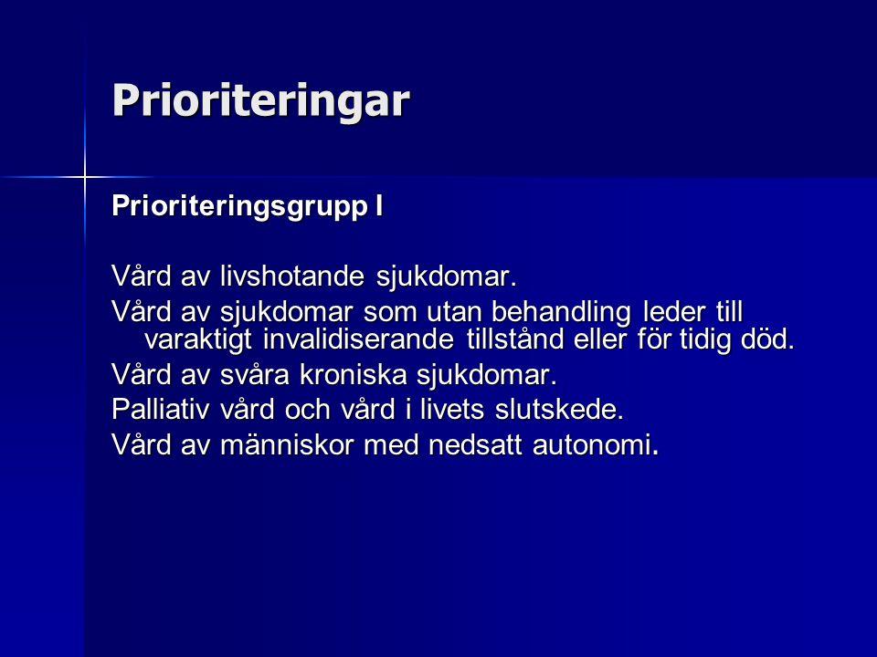Prioriteringar Prioriteringsgrupp I Vård av livshotande sjukdomar.