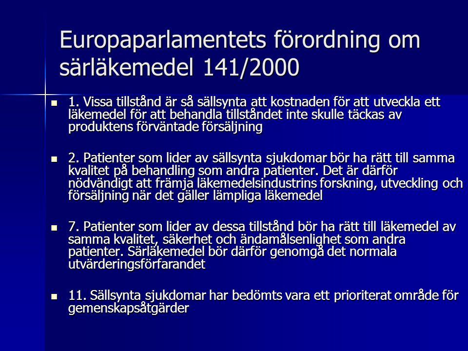 Europaparlamentets förordning om särläkemedel 141/2000
