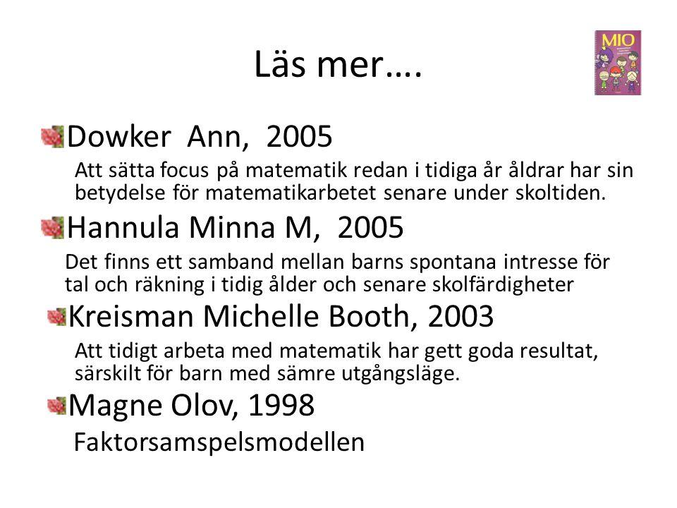 Läs mer…. Dowker Ann, 2005 Hannula Minna M, 2005