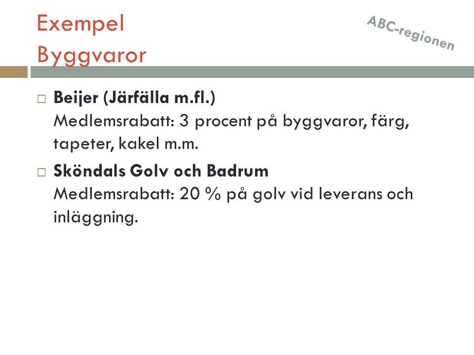 Exempel Byggvaror ABC-regionen. Beijer (Järfälla m.fl.) Medlemsrabatt: 3 procent på byggvaror, färg, tapeter, kakel m.m.