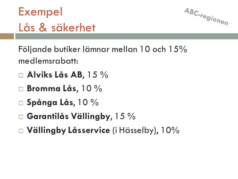 Exempel Lås & säkerhet ABC-regionen. Följande butiker lämnar mellan 10 och 15% medlemsrabatt: Alviks Lås AB, 15 %