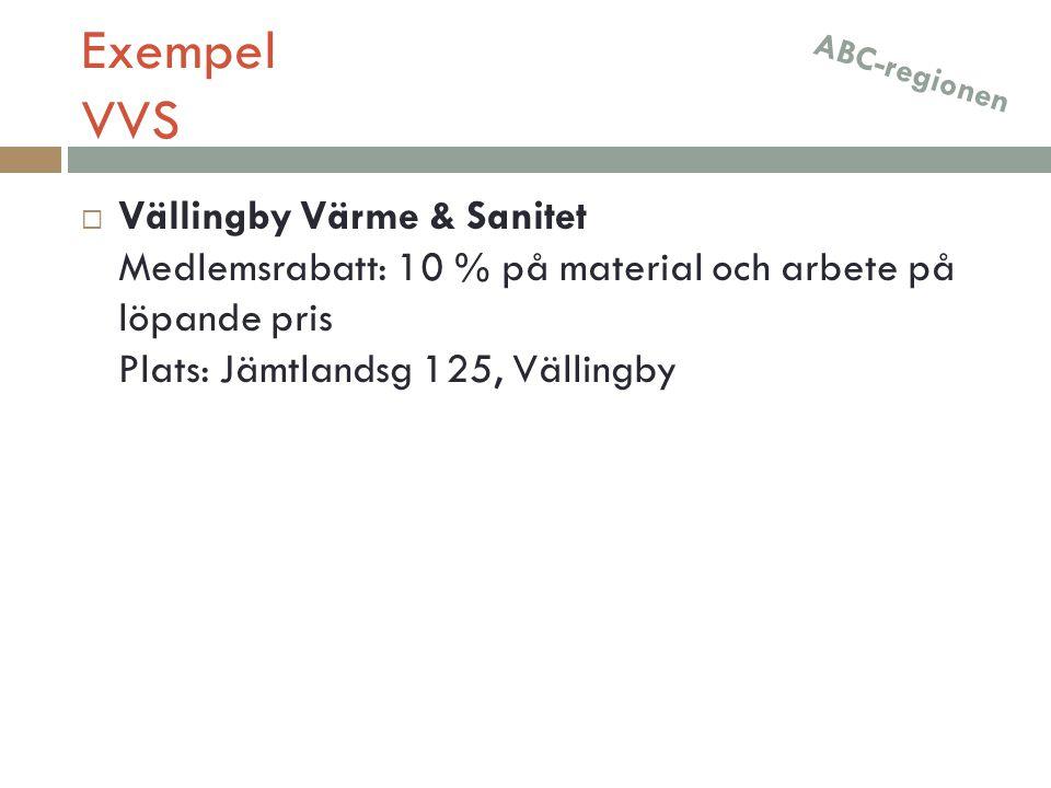 Exempel VVS ABC-regionen.