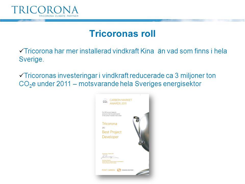 Tricoronas roll Tricorona har mer installerad vindkraft Kina än vad som finns i hela Sverige.