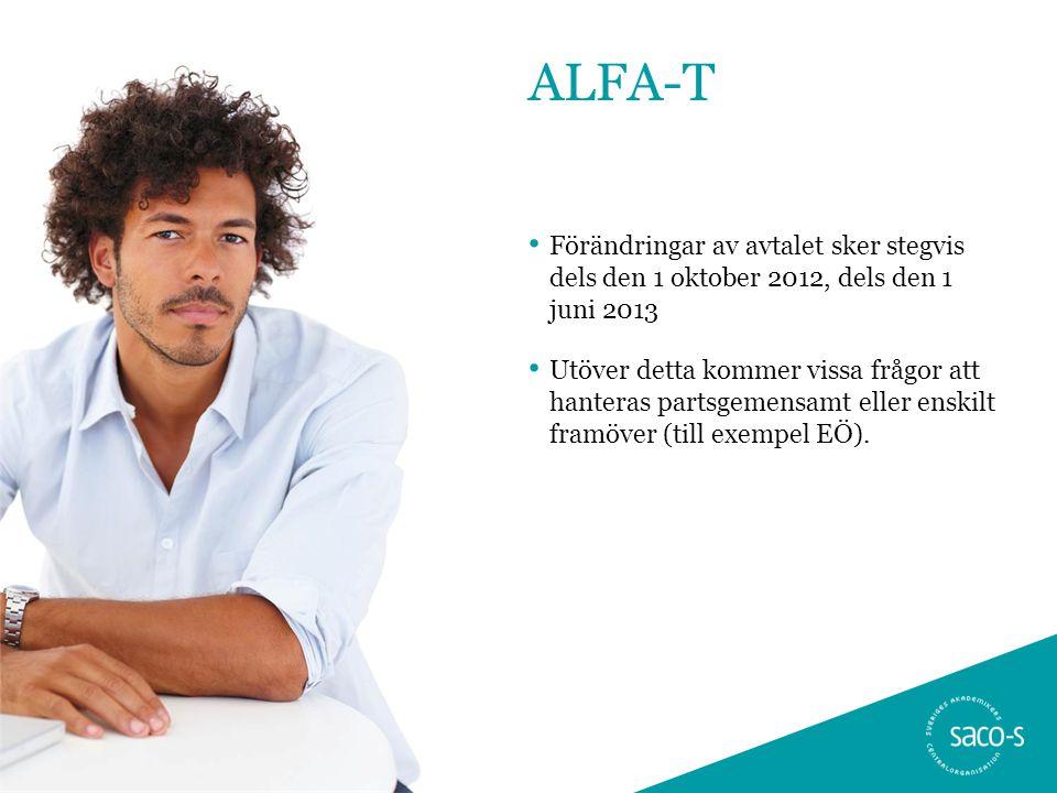 ALFA-T Förändringar av avtalet sker stegvis dels den 1 oktober 2012, dels den 1 juni 2013.
