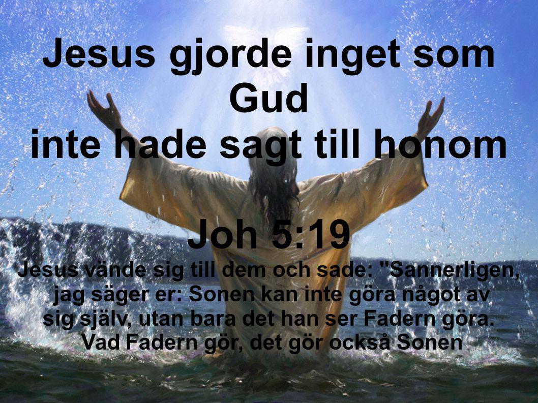 Jesus gjorde inget som Gud inte hade sagt till honom Joh 5:19
