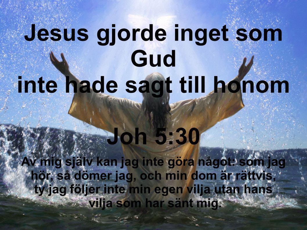 Jesus gjorde inget som Gud inte hade sagt till honom Joh 5:30