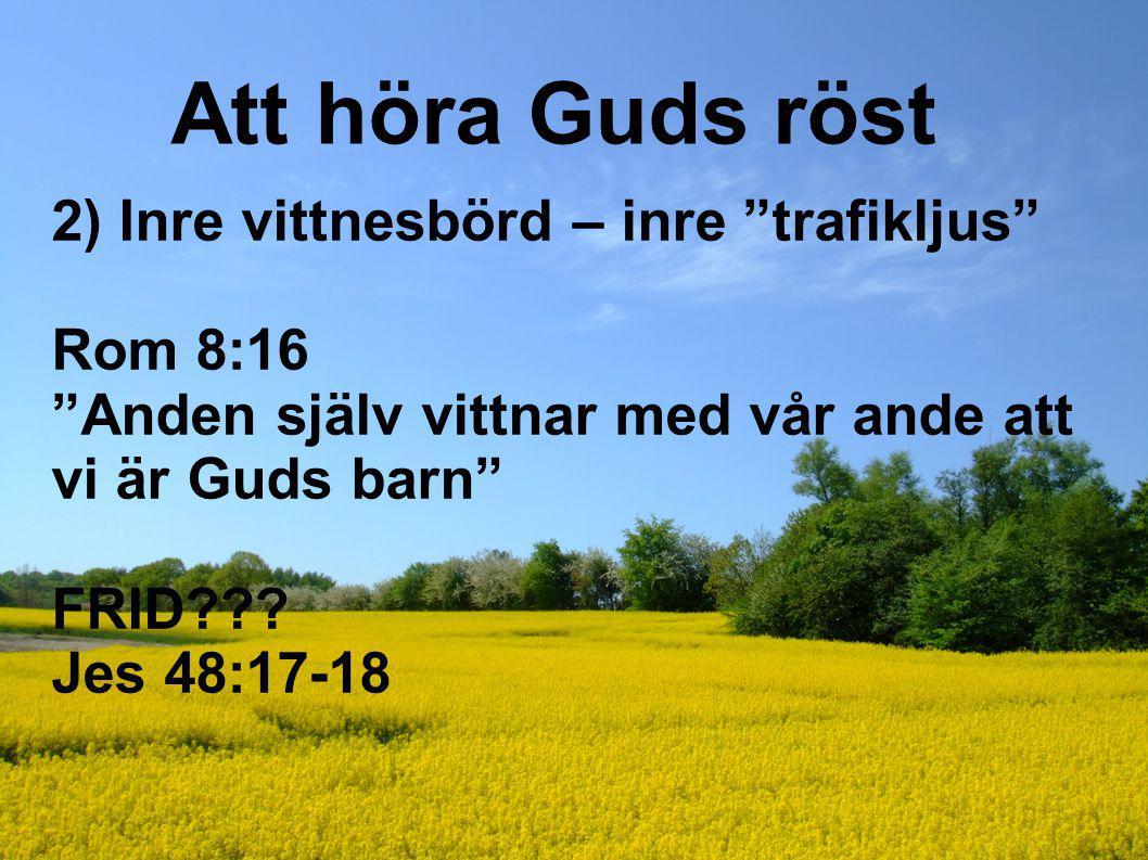 Att höra Guds röst 2) Inre vittnesbörd – inre trafikljus Rom 8:16