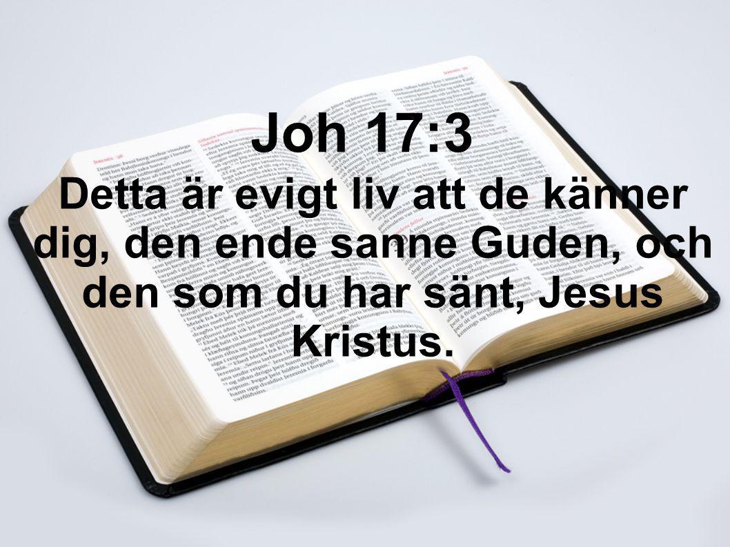 Joh 17:3 Detta är evigt liv att de känner dig, den ende sanne Guden, och den som du har sänt, Jesus Kristus.