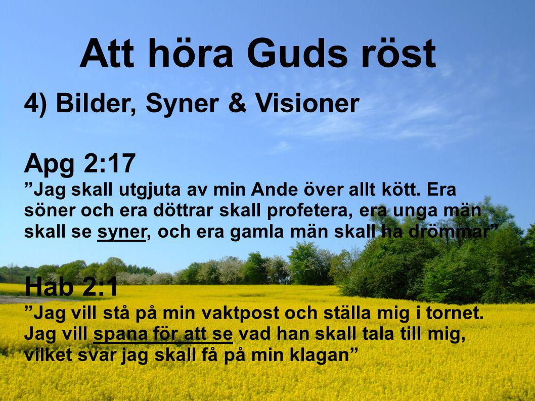 Att höra Guds röst 4) Bilder, Syner & Visioner Apg 2:17 Hab 2:1