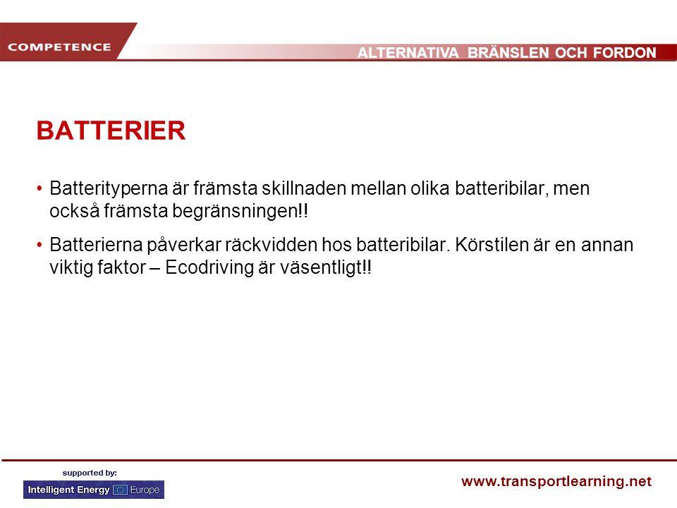 BATTERIER Batterityperna är främsta skillnaden mellan olika batteribilar, men också främsta begränsningen!!