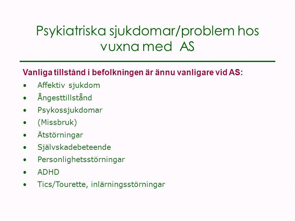 Psykiatriska sjukdomar/problem hos vuxna med AS