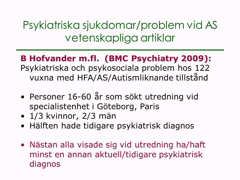 Psykiatriska sjukdomar/problem vid AS vetenskapliga artiklar