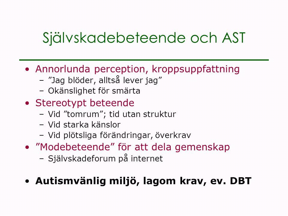 Självskadebeteende och AST