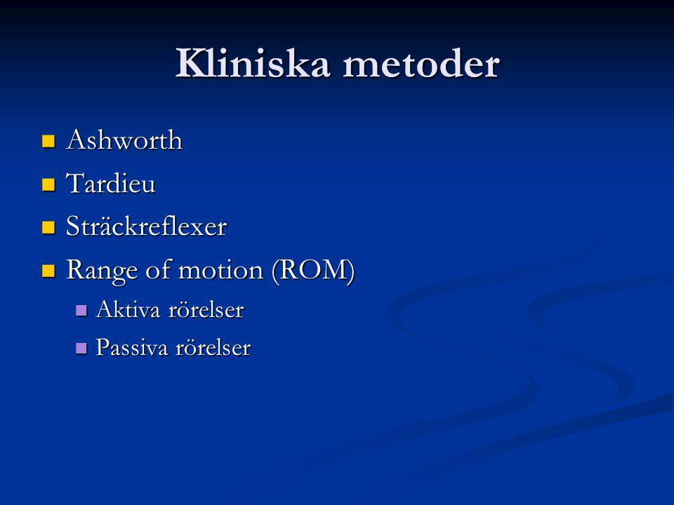 Kliniska metoder Ashworth Tardieu Sträckreflexer Range of motion (ROM)