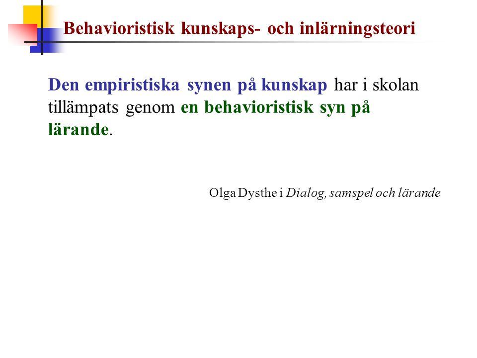 Behavioristisk kunskaps- och inlärningsteori