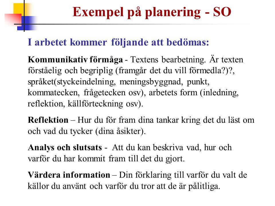 Exempel på planering - SO