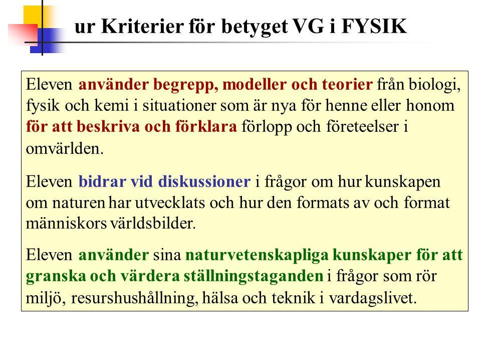 ur Kriterier för betyget VG i FYSIK