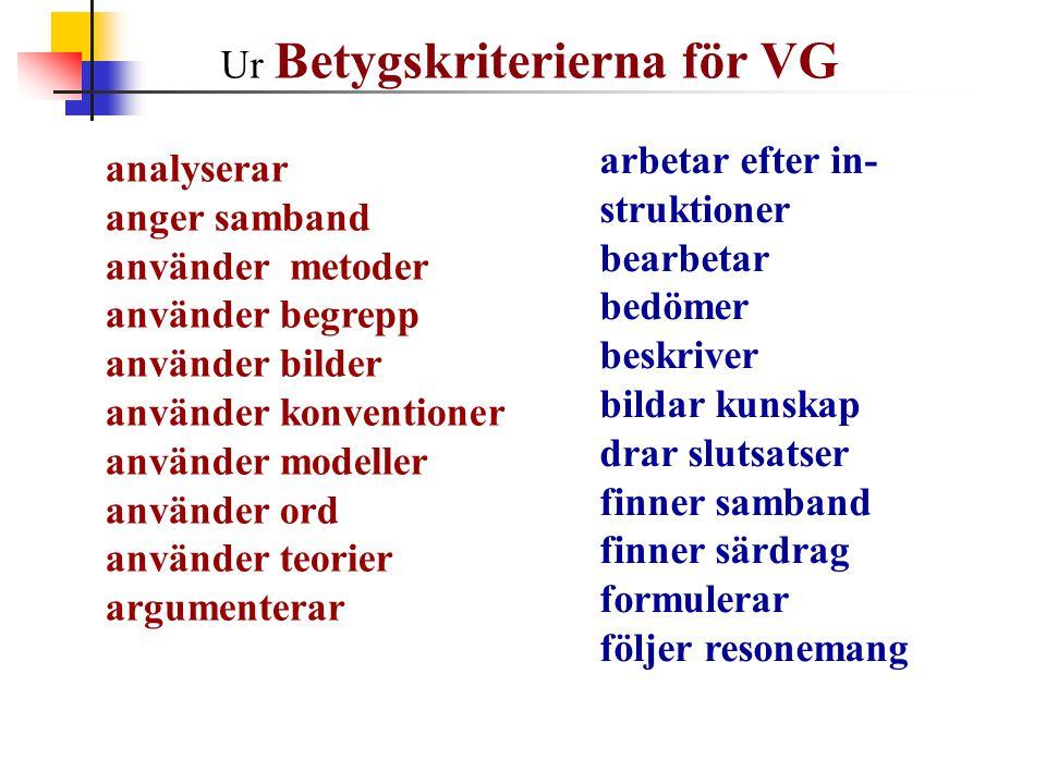 Ur Betygskriterierna för VG