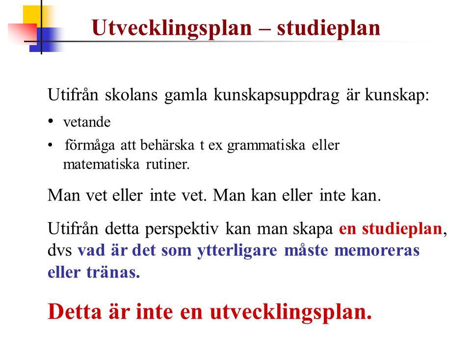 Utvecklingsplan – studieplan