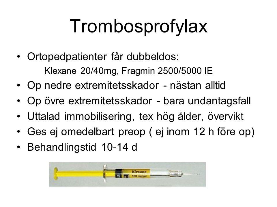 Trombosprofylax Ortopedpatienter får dubbeldos: