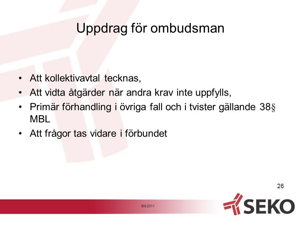 Uppdrag för ombudsman Att kollektivavtal tecknas,