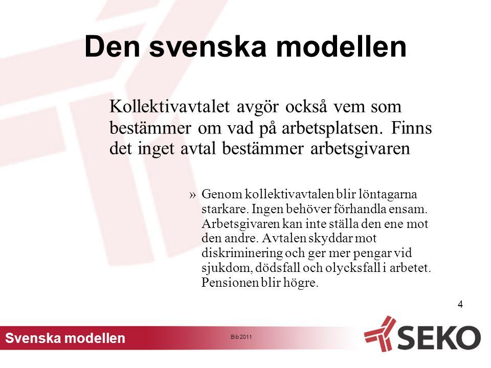 Den svenska modellen Kollektivavtalet avgör också vem som bestämmer om vad på arbetsplatsen. Finns det inget avtal bestämmer arbetsgivaren.