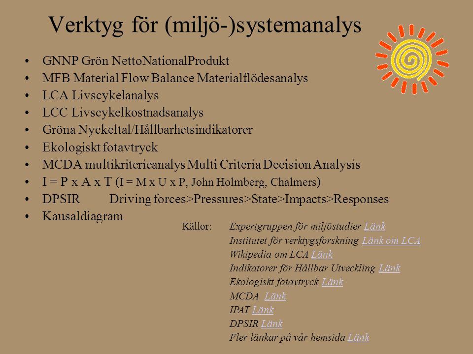 Verktyg för (miljö-)systemanalys