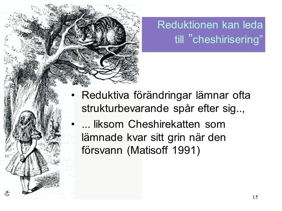 Reduktionen kan leda till cheshirisering