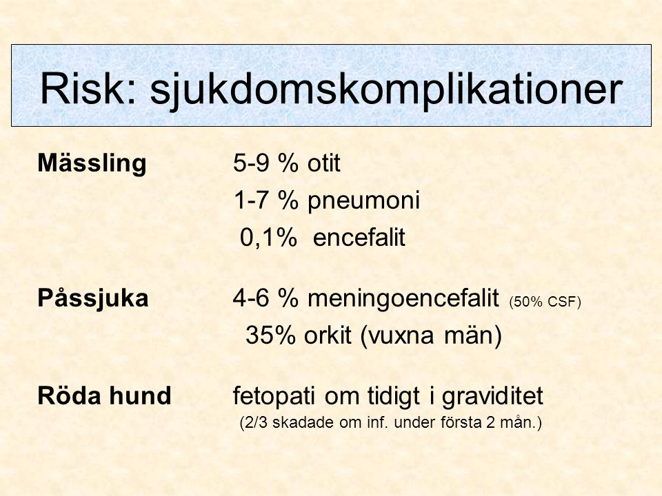 Risk: sjukdomskomplikationer