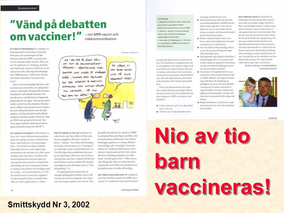 Nio av tio barn vaccineras! Smittskydd Nr 3, 2002