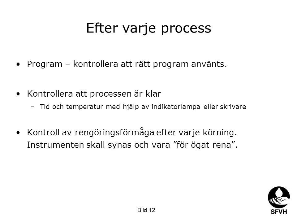 Efter varje process Program – kontrollera att rätt program använts.