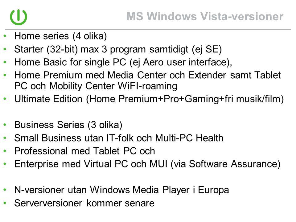 MS Windows Vista-versioner
