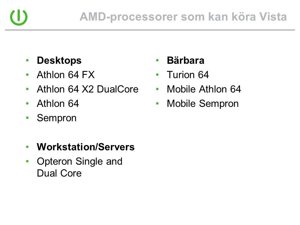 AMD-processorer som kan köra Vista