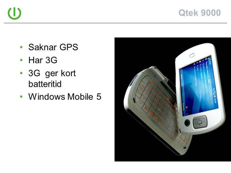 Qtek 9000 Saknar GPS Har 3G 3G ger kort batteritid Windows Mobile 5