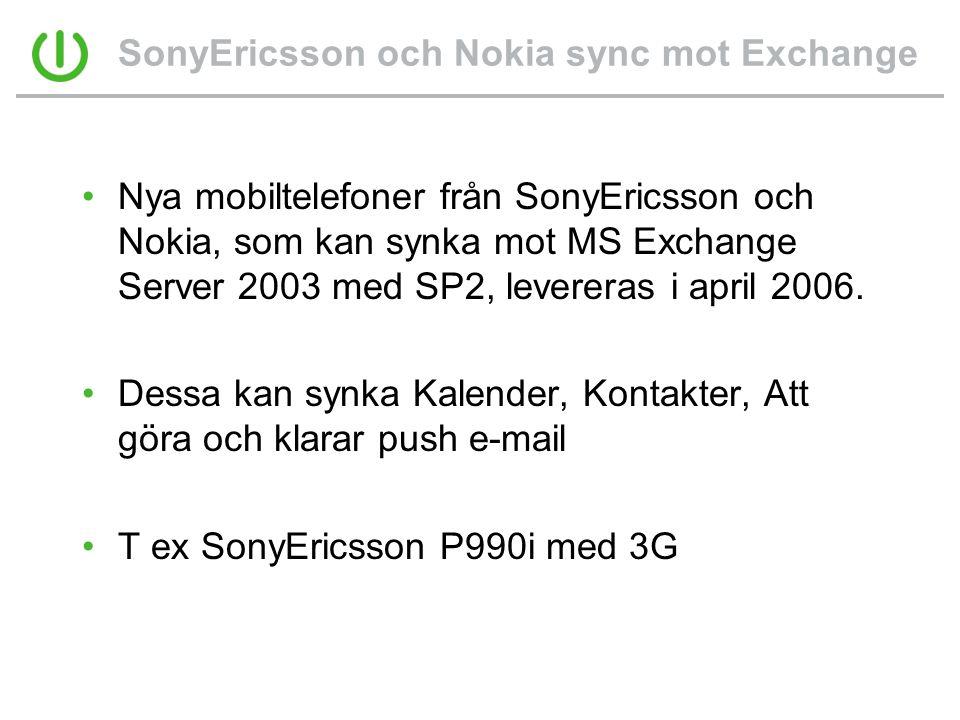 SonyEricsson och Nokia sync mot Exchange