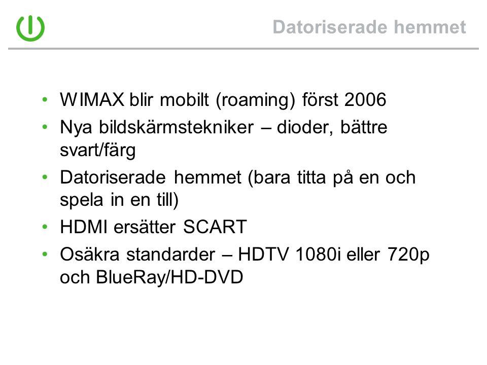 Datoriserade hemmet WIMAX blir mobilt (roaming) först 2006. Nya bildskärmstekniker – dioder, bättre svart/färg.