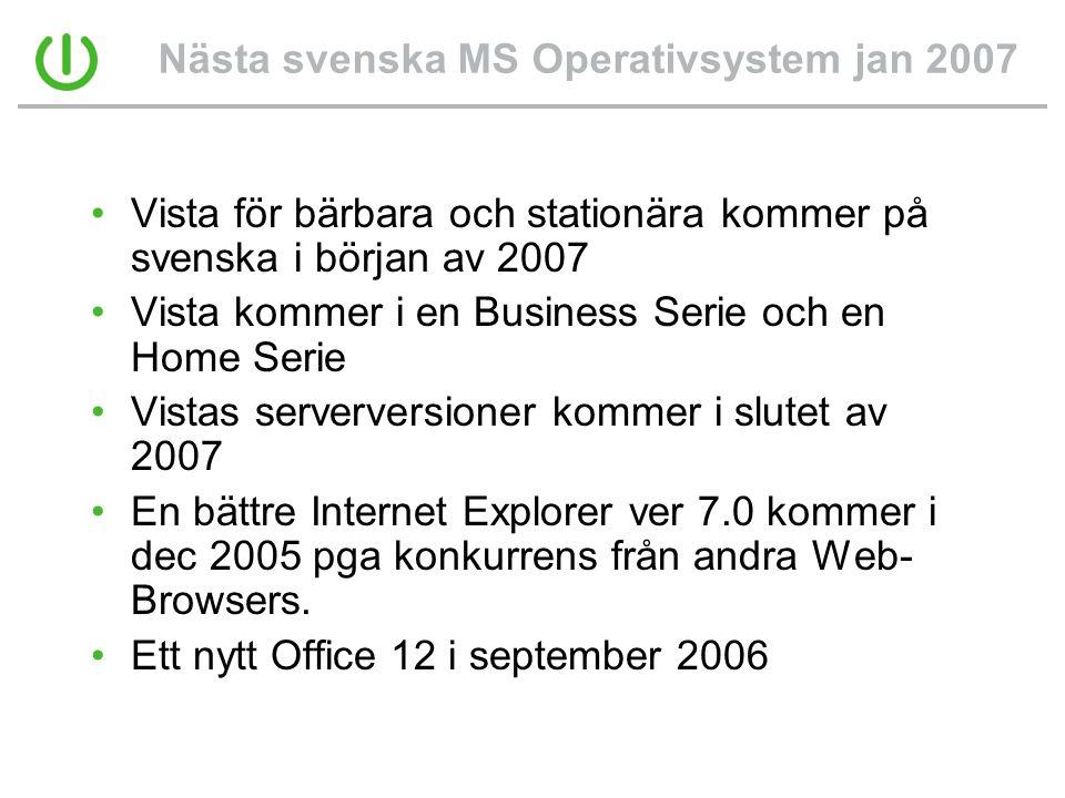 Nästa svenska MS Operativsystem jan 2007