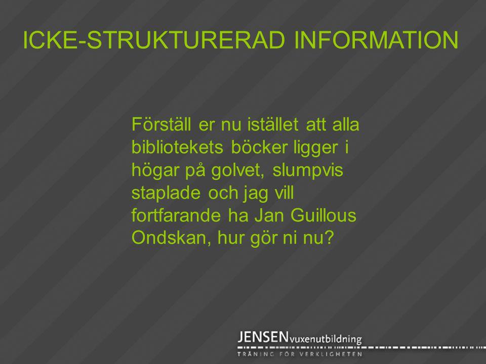 ICKE-STRUKTURERAD INFORMATION